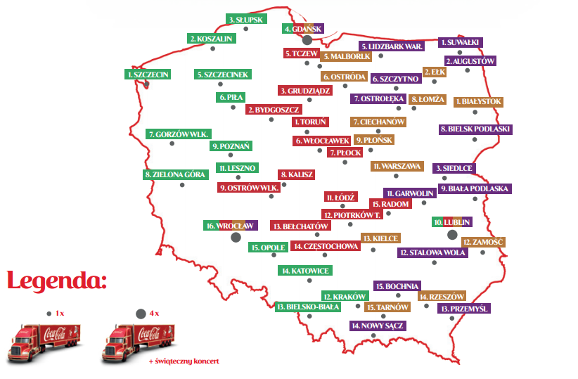 mapa cieżarówek