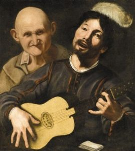 Pietro Paolini, A guitar player with an old man behind, XVII c.