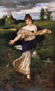 Arnold Böcklin, Flora, strewing flowers, 1875