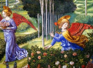 Benozzo Gozzoli, Angel gathering flowers in a heavenly landscape (detail), 1460