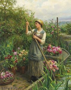 Daniel Ridgway Knight,  Gathering Flowers along the River, XIX c.