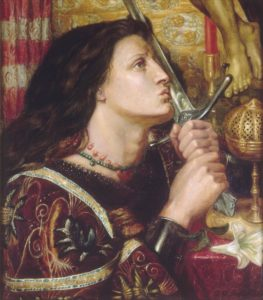 Dante Gabriel Rossetti, Joan d'Arc kisses the sword of liberation, 1863