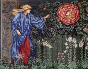 Edward Coley Burne-Jones,The Pilgrim in the Garden (The Heart of the Rose), 1889