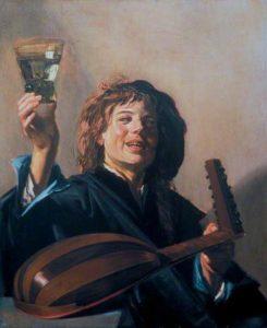 Frans Hals, Jongen met een glas en een luit, 1625-1630