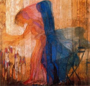 Frantisek Kupka, Woman picking flowers, 1909