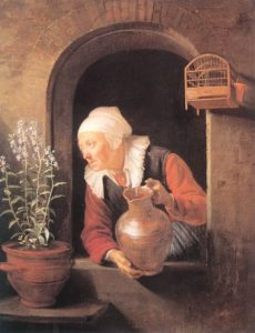 Gerrit Dou, Old woman watering flowers, 1665