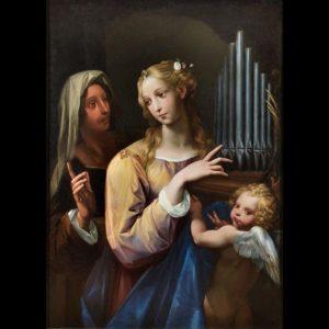 Giuseppe Cesari, detto il Cavalier d'Arpino, Santa Cecilia con l'organo portatile un'altra santa e un putto, 1630