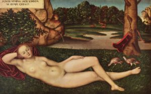 Lucas Cranach the Elder, Sleeping nymph of the spring, XIV c.
