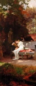 Marcus Stone, A stolen kiss, 1900