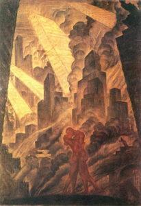 Mstislav Dobuzhinsky, The kiss, 1916