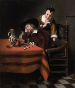 Nicolaes Maes, Sleeping man having his pockets picked,1655