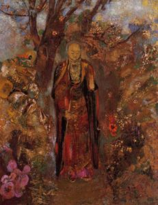 Odilon Redon, Buddha walking among the flowers, 1905