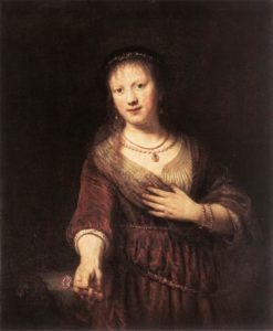Rembrandt, Saskia with a red flower, 1641