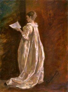 Adam Chmielowski, Mdame with a letter, 1870
