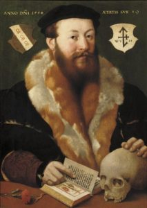 Hermann Tom Ring, Portrait of a gentleman with a skull and book,1554