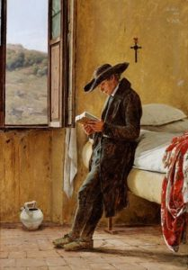 Martinus Rørbye, Young clergyman reading, 1836