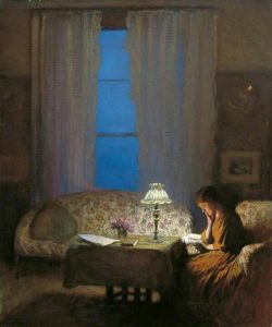 Sir George Clausen, Twilight Interior-Reading by Lamplight,1909