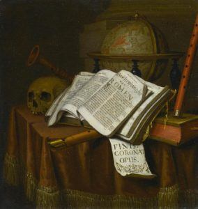 Edward Collier, Vanitas, Still Life with Astrological Globe, Musical instruments Skull and Books on a Draped Table, 1665