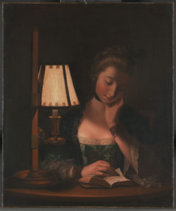 Henry Robert Morland, Woman Reading by a Paper Bell Shade, 1766